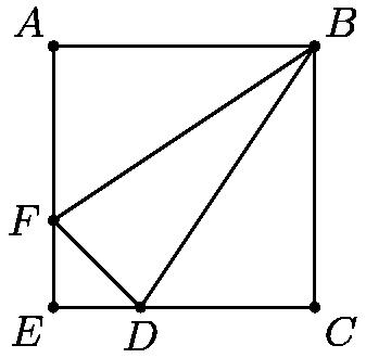 """[asy] size((100)); draw((0,0)--(9,0)--(9,9)--(0,9)--cycle); draw((3,0)--(9,9)--(0,3)--cycle); dot((3,0)); dot((0,3)); dot((9,9)); dot((0,0)); dot((9,0)); dot((0,9)); label(""""$A$"""", (0,9), NW); label(""""$B$"""", (9,9), NE); label(""""$C$"""", (9,0), SE); label(""""$D$"""", (3,0), S); label(""""$E$"""", (0,0), SW); label(""""$F$"""", (0,3), W); [/asy]"""