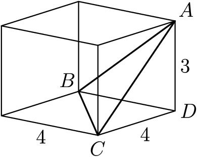"[asy] size(120); import three; currentprojection=orthographic(1, 4/5, 1/3); draw(box(O, (4,4,3))); triple A=(0,4,3), B=(0,0,0) , C=(4,4,0), D=(0,4,0); draw(A--B--C--cycle, linewidth(0.9)); label(""$A$"", A, NE); label(""$B$"", B, NW); label(""$C$"", C, S); label(""$D$"", D, E); label(""$4$"", (4,2,0), SW); label(""$4$"", (2,4,0), SE); label(""$3$"", (0, 4, 1.5), E); [/asy]"