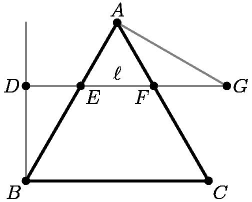 """[asy] pair A,B,C,D,E,F,G; B=origin; A=5*dir(60); C=(5,0); E=0.6*A+0.4*B; F=0.6*A+0.4*C; G=rotate(240,F)*A; D=extension(E,F,B,dir(90)); draw(D--G--A,grey); draw(B--0.5*A+rotate(60,B)*A*0.5,grey); draw(A--B--C--cycle,linewidth(1.5)); dot(A^^B^^C^^D^^E^^F^^G); label(""""$A$"""",A,dir(90)); label(""""$B$"""",B,dir(225)); label(""""$C$"""",C,dir(-45)); label(""""$D$"""",D,dir(180)); label(""""$E$"""",E,dir(-45)); label(""""$F$"""",F,dir(225)); label(""""$G$"""",G,dir(0)); label(""""$\ell$"""",midpoint(E--F),dir(90)); [/asy]"""