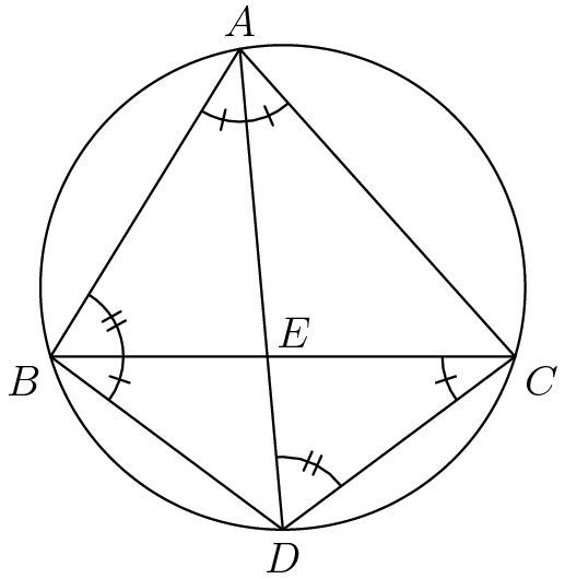 "[asy] import graph; import geometry; import markers;  unitsize(0.5 cm);  pair A, B, C, D, E, I;  A = (11/3,8*sqrt(5)/3); B = (0,0); C = (9,0); I = incenter(A,B,C); D = intersectionpoint(I--(I + 2*(I - A)), circumcircle(A,B,C)); E = extension(A,D,B,C);  draw(A--B--C--cycle); draw(circumcircle(A,B,C)); draw(D--A); draw(D--B); draw(D--C);  label(""$A$"", A, N); label(""$B$"", B, SW); label(""$C$"", C, SE); label(""$D$"", D, S); label(""$E$"", E, NE);  markangle(radius = 20,B, A, C, marker(markinterval(2,stickframe(1,2mm),true))); markangle(radius = 20,B, C, D, marker(markinterval(1,stickframe(1,2mm),true))); markangle(radius = 20,D, B, C, marker(markinterval(1,stickframe(1,2mm),true))); markangle(radius = 20,C, B, A, marker(markinterval(1,stickframe(2,2mm),true))); markangle(radius = 20,C, D, A, marker(markinterval(1,stickframe(2,2mm),true))); [/asy]"