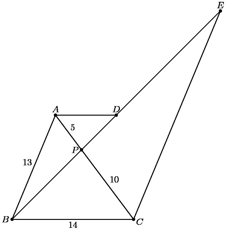 """[asy] size(8cm); pair A = (5,12); pair B = (0,0); pair C = (14,0); pair P = 2/3*A+1/3*C; pair D = 3/2*P; pair E = 3*P; draw(A--B--C--A); draw(A--D); draw(C--E--B); dot(""""$A$"""",A,N); dot(""""$B$"""",B,W); dot(""""$C$"""",C,ESE); dot(""""$D$"""",D,N); dot(""""$P$"""",P,W); dot(""""$E$"""",E,N); defaultpen(fontsize(9pt)); label(""""$13$"""", (A+B)/2, NW); label(""""$14$"""", (B+C)/2, S); label(""""$5$"""",(A+P)/2, NE); label(""""$10$"""", (C+P)/2, NE); [/asy]"""