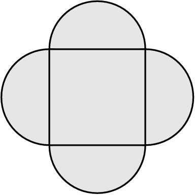 [asy] unitsize(1cm); defaultpen(.8);  filldraw( circle( (0,1), 1 ), lightgray, black ); filldraw( circle( (0,-1), 1 ), lightgray, black ); filldraw( circle( (1,0), 1 ), lightgray, black ); filldraw( circle( (-1,0), 1 ), lightgray, black ); filldraw( (-1,-1)--(-1,1)--(1,1)--(1,-1)--cycle, lightgray, black ); [/asy]