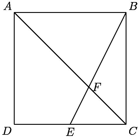"[asy] size(5cm); draw((0,0)--(6,0)--(6,6)--(0,6)--cycle); draw((0,6)--(6,0)); draw((3,0)--(6,6)); label(""$A$"",(0,6),NW); label(""$B$"",(6,6),NE); label(""$C$"",(6,0),SE); label(""$D$"",(0,0),SW); label(""$E$"",(3,0),S); label(""$F$"",(4,2),E); [/asy]"