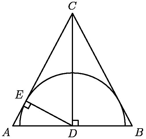 """[asy] pair A, B, C, D, E; A=(0,0); B=(16,0); C=(8,15); D=B/2; E=(64/17*8/17, 64/17*15/17); draw(A--B--C--cycle); draw(C--D); draw(D--E); draw(arc(D,120/17,0,180)); draw(rightanglemark(B,D,C,25)); draw(rightanglemark(A,E,D,25)); label(""""$A$"""",A,SW); label(""""$B$"""",B,SE); label(""""$C$"""",C,N); label(""""$D$"""",D,S); label(""""$E$"""",E,NW);[/asy]"""