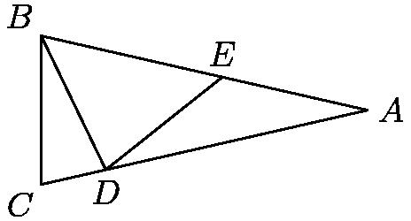 """[asy] unitsize(4 cm); pair A, B, C, D, E; real a = 180/7; A = (0,0); B = dir(180 - a/2); C = dir(180 + a/2); D = extension(B, B + dir(270 + a), A, C); E = extension(D, D + dir(90 - 2*a), A, B); draw(A--B--C--cycle); draw(B--D--E); label(""""$A$"""", A, dir(0)); label(""""$B$"""", B, NW); label(""""$C$"""", C, SW); label(""""$D$"""", D, S); label(""""$E$"""", E, N); [/asy]"""