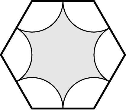[asy] size(125); defaultpen(linewidth(0.8)); path hexagon=(2*dir(0))--(2*dir(60))--(2*dir(120))--(2*dir(180))--(2*dir(240))--(2*dir(300))--cycle; fill(hexagon,lightgrey); for(int i=0;i<=5;i=i+1) { path arc=2*dir(60*i)--arc(2*dir(60*i),1,120+60*i,240+60*i)--cycle; unfill(arc); draw(arc); } draw(hexagon,linewidth(1.8));[/asy]