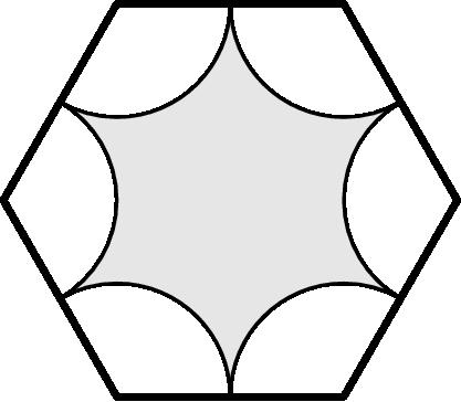 [asy] size(125); defaultpen(linewidth(0.8)); path hexagon=(2*dir(0))--(2*dir(60))--(2*dir(120))--(2*dir(180))--(2*dir(240))--(2*dir(300))--cycle; fill(hexagon,lightgrey); for(int i=0;i<=5;i=i+1) { path arc=2*dir(60*i)--arc(2*dir(60*i),1,120+60*i,240+60*i)--cycle; unfill(arc); draw(arc); } draw(hexagon,linewidth(1.8));[/asy]