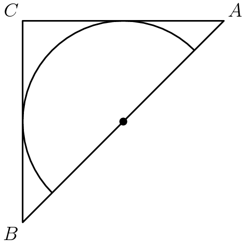 "[asy]pair a=(4,4), b=(0,0), c=(0,4), d=(4,0), o=(2,2); draw(circle(o, 2)); clip(a--b--c--cycle); draw(a--b--c--cycle); dot(o); label(""$C$"", c, NW); label(""$A$"", a, NE); label(""$B$"", b, SW);[/asy]"