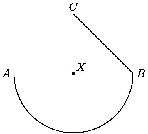 """[asy]size(150); pair X=origin, A=(-5,0), B=(5,0), C=(0,5); draw(Arc(X, 5, 180, 360)^^B--C); dot(X); label(""""$X$"""", X, NE); label(""""$C$"""", C, N); label(""""$B$"""", B, E); label(""""$A$"""", A, W); [/asy]"""