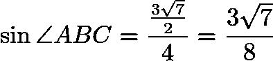 $\sin{\angle ABC}=\frac{\frac{3\sqrt{7}}{2}}{4}=\frac{3\sqrt{7}}{8}$