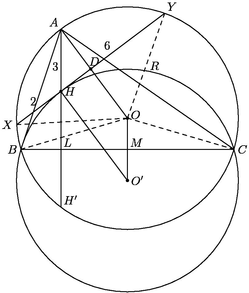 """[asy] size(10cm); pair A, B, C, D, H, K, O, P, L, M, X, Y; A = (-15, 27); B = (-24, 0); C = (24, 0); D = (-8.28, 18.04); O = (0, 7); P = (0, -7); H = (-15, 13); K = (-15, -13); M = (0, 0); L = (-15, 0); X = (-24.9569, 5.53234); Y = (8.39688, 30.5477); draw(circle(O, 25)); draw(circle(P, 25)); draw(A--B--C--cycle); draw(H -- K); draw(A -- O -- P -- H -- cycle); draw(X -- Y); draw(O -- X, dashed); draw(O -- Y, dashed); draw(O -- B, dashed); draw(O -- C, dashed); label(""""$O$"""", O, ENE); label(""""$A$"""", A, NW); label(""""$B$"""", B, W); label(""""$C$"""", C, E); label(""""$H$"""", H, E); label(""""$H'$"""", K, NE); label(""""$X$"""", X, W); label(""""$Y$"""", Y, NE); label(""""$O'$"""", P, E); label(""""$M$"""", M, NE); label(""""$L$"""", L, NE); label(""""$D$"""", D, NNE); label(""""$2$"""", X -- H, NW); label(""""$3$"""", H -- A, SW); label(""""$6$"""", H -- Y, NW); label(""""$R$"""", O -- Y, E); dot(O); dot(P); dot(D); dot(H); [/asy]"""