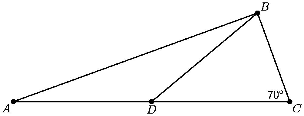 """[asy] size(300); defaultpen(linewidth(0.8)); pair A=(-1,0),C=(1,0),B=dir(40),D=origin; draw(A--B--C--A); draw(D--B); dot(""""$A$"""", A, SW); dot(""""$B$"""", B, NE); dot(""""$C$"""", C, SE); dot(""""$D$"""", D, S); label(""""$70^\circ$"""",C,2*dir(180-35));[/asy]"""