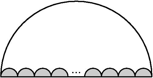 "[asy] draw((0,0)--(18,0)); draw(arc((9,0),9,0,180)); filldraw(arc((1,0),1,0,180)--cycle,gray(0.8)); filldraw(arc((3,0),1,0,180)--cycle,gray(0.8)); filldraw(arc((5,0),1,0,180)--cycle,gray(0.8)); filldraw(arc((7,0),1,0,180)--cycle,gray(0.8)); label(""..."",(9,0.5)); filldraw(arc((11,0),1,0,180)--cycle,gray(0.8)); filldraw(arc((13,0),1,0,180)--cycle,gray(0.8)); filldraw(arc((15,0),1,0,180)--cycle,gray(0.8)); filldraw(arc((17,0),1,0,180)--cycle,gray(0.8)); [/asy]"