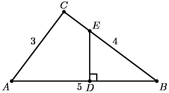 """[asy] unitsize(10mm); defaultpen(linewidth(.8pt)+fontsize(10pt)); dotfactor=4;  pair A=(0,0), B=(5,0), C=(1.8,2.4), D=(5-4sqrt(3)/3,0), E=(5-4sqrt(3)/3,sqrt(3)); pair[] ps={A,B,C,D,E};  draw(A--B--C--cycle); draw(E--D); draw(rightanglemark(E,D,B));  dot(ps); label(""""$A$"""",A,SW); label(""""$B$"""",B,SE); label(""""$C$"""",C,N); label(""""$D$"""",D,S); label(""""$E$"""",E,NE); label(""""$3$"""",midpoint(A--C),NW); label(""""$4$"""",midpoint(C--B),NE); label(""""$5$"""",midpoint(A--B),SW); [/asy]"""