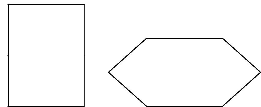 "[asy] pair A,B,C,D,E,F,R,S,T,X,Y,Z; dotfactor = 2; unitsize(.1cm); A = (0,0); B = (0,18); C = (0,36); // don't look here D = (12*2.236, 36); E = (12*2.236, 18); F = (12*2.236, 0); draw(A--B--C--D--E--F--cycle); dot("" "",A,NW); dot("" "",B,NW); dot("" "",C,NW); dot("" "",D,NW); dot("" "",E,NW); dot("" "",F,NW); //don't look here R = (12*2.236 +22,0); S = (12*2.236 + 22 - 13.4164,12); T = (12*2.236 + 22,24); X = (12*4.472+ 22,24); Y = (12*4.472+ 22 + 13.4164,12); Z = (12*4.472+ 22,0); draw(R--S--T--X--Y--Z--cycle); dot("" "",R,NW); dot("" "",S,NW); dot("" "",T,NW); dot("" "",X,NW); dot("" "",Y,NW); dot("" "",Z,NW); // sqrt180 = 13.4164 // sqrt5 = 2.236[/asy]"