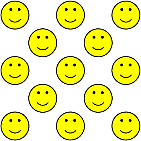 [asy] import graph; real r=5;  size(r*cm); picture smiley; filldraw(smiley,Circle((0,0),1),yellow,black); fill(smiley,Circle((-.3,.4),.1),black); fill(smiley,Circle((.3,.4),.1),black); draw(smiley,Arc((0,0),.5,-140,-40)); for (int i=0; i<5; ++i) {  for (int j=0; j<5; ++j)  {   if (floor((i-j)/2)==((i-j)/2))   {   add(scale(r/10*cm)*smiley,(i,j));   }  } } [/asy]