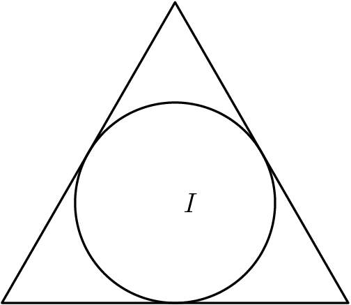 "[asy] pair A,B,C,I; A=(0,0); B=(1,0); C=intersectionpoint(arc(A,1,0,90),arc(B,1,90,180)); draw(A--B--C--cycle); I=incenter(A,B,C); draw(incircle(A,B,C)); label(""$I$"",I,E); [/asy]"
