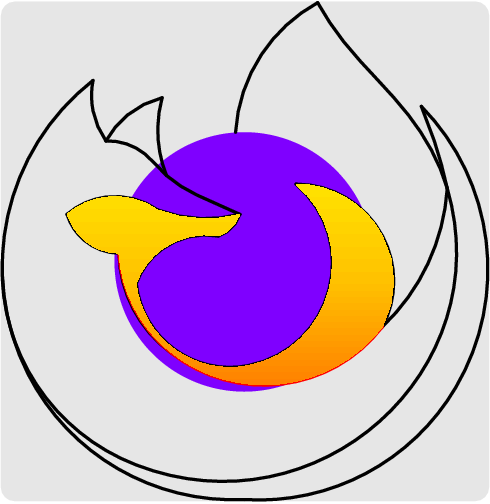 [asy] //firefox fill(Circle((64,64),30), purple);  //fox belly //draw((76,82)..(66,38)..(35,66),red); path a = (76,82)..(66,38)..(35,66);  //fox lower mouth draw((35,66)..(27,69)..(23,75)); path b = (35,66)..(27,69)..(23,75);  //fox upper mouth draw((23,75)..(32,79)..(44,76)); path c = (23,75)..(32,79)..(44,76);  //fox middle nose draw((44,76)..(54,74)..(63,75)); path d = (44,76)..(54,74)..(63,75);  //fox upper nose draw((63,75)..(53,79.5)..(46,84)..(41,89)..(32,92)); path e = (63,75)..(53,79.5)..(46,84)..(41,89)..(32,92);  //fox left ear draw((32,92)..(29,99)..(29,106)); path f = (32,92)..(29,99)..(29,106);  //fox left back draw((29,106)..(14,38)..(64,9)); path g = (29,106)..(14,38)..(64,9);  //fox right back draw((64,9)..(113,35)..(105,100)); path h = (64,9)..(113,35)..(105,100);  // fox outer part of inner tail draw((76,82)..(96,70)..(96,49)); path i = (76,82)..(96,70)..(96,49);  // fox upper belly //draw((39,59)..(63,38)..(96,49)..(111,81),orange); path j = (39,59)..(63,38)..(96,49)..(111,81);  // fox middle belly draw((111,81)..(108,92)..(105,100)); path k = (111,81)..(108,92)..(105,100);  // fox lower chin draw((39,59)..(45,67)..(58,70)); path l = (58,70)..(45,67)..(39,59);  // fox snout draw((58,70)..(60,71)..(63,75)); path m = (63,75)..(60,71)..(58,70);  //fox outer right ear draw((32,92)..(37,98)..(45,102)); path n = (32,92)..(37,98)..(45,102);  //fox inner right ear draw((45,102)..(44,95)..(46,84)); path o = (45,102)..(44,95)..(46,84);  // fox middle belly draw((8,64)..(39,17)..(111,81)..(102,98)..(95,106)..(87,115)..(81,124)); path p = (8,64)..(39,17)..(111,81)..(102,98)..(95,106)..(87,115)..(81,124);  // fox upper left tail draw((81,124)..(68,112)..(62,94)); path q = (81,124)..(68,112)..(62,94);  // updated belly draw((76,82)..(65,40)..(39,59)); path aA=(39,59)..(65,40)..(76,82);  //updated fox upper belly draw((111,81)..(96,49)..(47,43)..(35,66)); path jJ=(111,81)..(96,49)..(47,43)..(35,66);  // updated fox upper belly extra draw((96,49)..(47,43)..(35,66),red); path jJ1=(96,49)..(46.5,43.5)..(35,66);  picture middle_shade; path one=aA--i--jJ1--b--c--d--m--l--cycle; pen[][] firefox1={{yellow+.3*orange,yellow+orange,orange}}; latticeshade(middle_shade,rotate(90)*one,firefox1); add(rotate(-90)*middle_shade);  shipout(bbox(lightgrey+3mm,FillDraw(lightgrey))); [/asy]