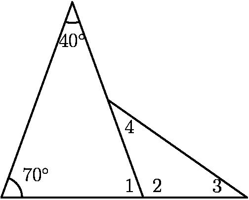 "[asy] pair H,I,J,K,L; H = (0,0); I = 10*dir(70); J = I + 10*dir(290); K = J + 5*dir(110); L = J + 5*dir(0); draw(H--I--J--cycle); draw(K--L--J); draw(arc((0,0),dir(70),(1,0),CW)); label(""$70^\circ$"",dir(35),NE); draw(arc(I,I+dir(250),I+dir(290),CCW)); label(""$40^\circ$"",I+1.25*dir(270),S); label(""$1$"",J+0.25*dir(162.5),NW); label(""$2$"",J+0.25*dir(17.5),NE); label(""$3$"",L+dir(162.5),WNW); label(""$4$"",K+dir(-52.5),SE); [/asy]"