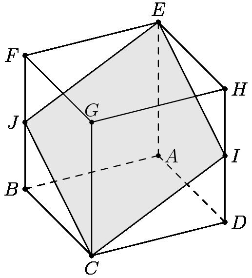 """[asy] size(6cm); pair A,B,C,D,EE,F,G,H,I,J; C = (0,0); B = (-1,1); D = (2,0.5); A = B+D; G = (0,2); F = B+G; H = G+D; EE = G+B+D; I = (D+H)/2; J = (B+F)/2; filldraw(C--I--EE--J--cycle,lightgray,black); draw(C--D--H--EE--F--B--cycle); draw(G--F--G--C--G--H); draw(A--B,dashed); draw(A--EE,dashed); draw(A--D,dashed); dot(A); dot(B); dot(C); dot(D); dot(EE); dot(F); dot(G); dot(H); dot(I); dot(J); label(""""$A$"""",A,E); label(""""$B$"""",B,W); label(""""$C$"""",C,S); label(""""$D$"""",D,E); label(""""$E$"""",EE,N); label(""""$F$"""",F,W); label(""""$G$"""",G,N); label(""""$H$"""",H,E); label(""""$I$"""",I,E); label(""""$J$"""",J,W); [/asy]"""
