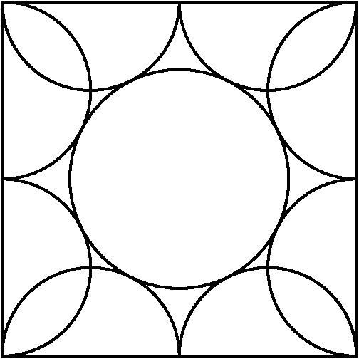 [asy] scale(200); draw(scale(.5)*((-1,-1)--(1,-1)--(1,1)--(-1,1)--cycle)); path p = arc((.25,-.5),.25,0,180)--arc((-.25,-.5),.25,0,180); draw(p); p=rotate(90)*p; draw(p); p=rotate(90)*p; draw(p); p=rotate(90)*p; draw(p); draw(scale((sqrt(5)-1)/4)*unitcircle); [/asy]