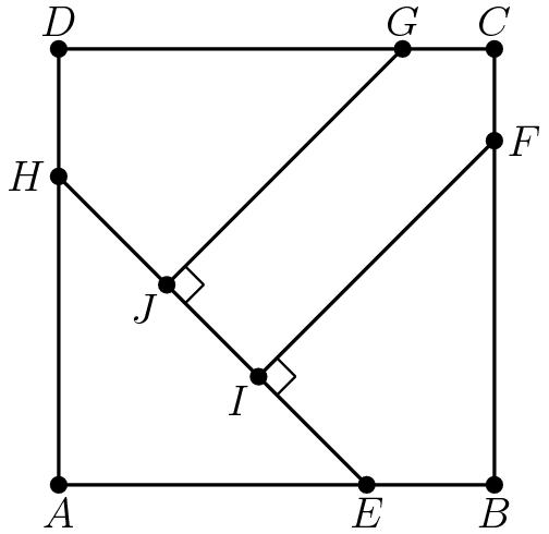 "[asy] real x=2sqrt(2); real y=2sqrt(16-8sqrt(2))-4+2sqrt(2); real z=2sqrt(8-4sqrt(2)); pair A, B, C, D, E, F, G, H, I, J; A = (0,0); B = (4,0); C = (4,4); D = (0,4); E = (x,0); F = (4,y); G = (y,4); H = (0,x); I = F + z * dir(225); J = G + z * dir(225); draw(A--B--C--D--A); draw(H--E); draw(J--G^^F--I); draw(rightanglemark(G, J, I), linewidth(.5)); draw(rightanglemark(F, I, E), linewidth(.5)); dot(""$A$"", A, S); dot(""$B$"", B, S); dot(""$C$"", C, dir(90)); dot(""$D$"", D, dir(90)); dot(""$E$"", E, S); dot(""$F$"", F, dir(0)); dot(""$G$"", G, N); dot(""$H$"", H, W); dot(""$I$"", I, SW); dot(""$J$"", J, SW); [/asy]"