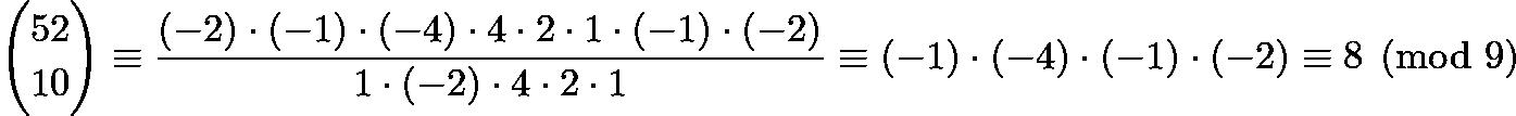 $\binom{52}{10}\equiv \frac{(-2)\cdot(-1)\cdot(-4)\cdot4\cdot2\cdot1\cdot(-1)\cdot(-2)}{1\cdot(-2)\cdot4\cdot2\cdot1} \equiv (-1)\cdot(-4)\cdot(-1)\cdot(-2) \equiv 8 \pmod{9}$