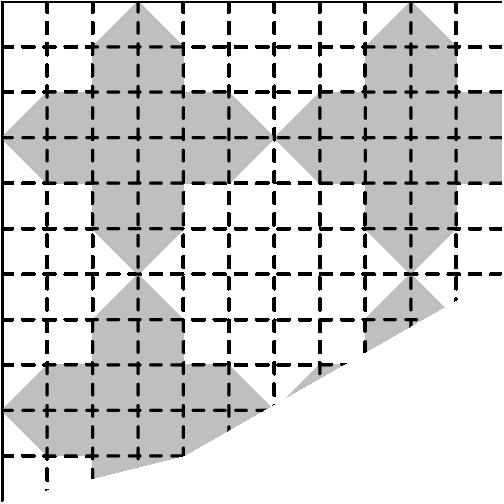 "[asy]/* AMC8 2002 #23 Problem */ fill((0,2)--(1,3)--(2,3)--(2,4)--(3,5)--(4,4)--(4,3)--(5,3)--(6,2)--(5,1)--(4,1)--(4,0)--(2,0)--(2,1)--(1,1)--cycle, mediumgrey); fill((7,1)--(6,2)--(7,3)--(8,3)--(8,4)--(9,5)--(10,4)--(7,0)--cycle, mediumgrey); fill((3,5)--(2,6)--(2,7)--(1,7)--(0,8)--(1,9)--(2,9)--(2,10)--(3,11)--(4,10)--(4,9)--(5,9)--(6,8)--(5,7)--(4,7)--(4,6)--cycle, mediumgrey); fill((6,8)--(7,9)--(8,9)--(8,10)--(9,11)--(10,10)--(10,9)--(11,9)--(11,7)--(10,7)--(10,6)--(9,5)--(8,6)--(8,7)--(7,7)--cycle, mediumgrey); draw((0,0)--(0,11)--(11,11)); for ( int x = 1; x < 11; ++x ) { draw((x,11)--(x,0), linetype(""4 4"")); } for ( int y = 1; y < 11; ++y ) { draw((0,y)--(11,y), linetype(""4 4"")); } clip((0,0)--(0,11)--(11,11)--(11,5)--(4,1)--cycle);[/asy]"