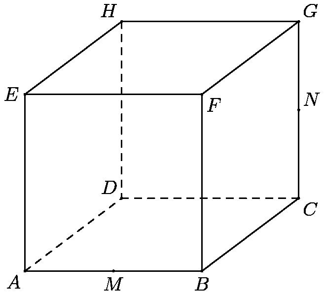 "[asy]import cse5; unitsize(10mm); pathpen=black; dotfactor=3; pair A = (0,0), B = (3.8,0), C = (5.876,1.564), D = (2.076,1.564), E = (0,3.8), F = (3.8,3.8), G = (5.876,5.364), H = (2.076,5.364), M = (1.9,0), N = (5.876,3.465); pair[] dotted = {A,B,C,D,E,F,G,H,M,N}; D(A--B--C--G--H--E--A); D(E--F--B); D(F--G); pathpen=dashed; D(A--D--H); D(D--C); dot(dotted); label(""$A$"",A,SW); label(""$B$"",B,S); label(""$C$"",C,SE); label(""$D$"",D,NW); label(""$E$"",E,W); label(""$F$"",F,SE); label(""$G$"",G,NE); label(""$H$"",H,NW); label(""$M$"",M,S); label(""$N$"",N,NE); [/asy]"