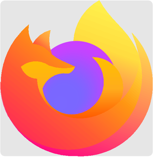 [asy] /**  * Firefox  *  * Made by piphi and sonone  *   * For more information go to the link below.  * https://artofproblemsolving.com/wiki/index.php/User:Piphi/Firefox  */ path circ = Circle((64,64),30)--cycle;  path upper = (111,81)..(102,98)..(95,106)..(87,115)..(81,124); path q = (81,124)..(68,112)..(62,94); path i = (76,82)..(96,70)..(96,49); path ll = (111,81)..(106,61)..(96,49);  picture highest_tail_shade; path two=upper--q--i--ll--cycle; pen[][] firefox2={{rgb(255,242,77),rgb(255,219,63),rgb(251,122,83)}}; latticeshade(highest_tail_shade,rotate(110)*two,firefox2); add(rotate(-110)*highest_tail_shade);  void fillmyway(picture pic=currentpicture,pair C,path P,real[] r,pen[] p,int n=100) { int m=r.length; for(int k=n;k>0;--k) { real[] g(real rr) { real qq=70,ss=0; real[] col={0,0,0}; for(int kk=0;kk<r.length-1;++kk) { real h=r[kk+1]-r[kk]; for (real t=0.05;t<1;t+=0.1) { real rt=r[kk]+t*h; col+=exp(-qq*(rr-rt)^2)*h*((1-t)*colors(rgb(p[kk]))+t*colors(rgb(p[kk+1]))); ss+=exp(-qq*(rr-rt)^2)*h; } } return col/ss; } real[] col=g(k/n); unfill(shift(C)*scale(k/n)*shift(-C)*P); fill(shift(C)*scale(k/n)*shift(-C)*P,rgb(col[0],col[1],col[2])); } }  pen[] p={rgb(109,93,228),rgb(104,88,218),rgb(167,66,233),rgb(188,59,231),rgb(170,51,216)}; real[] r={0,0.45,0.8,0.9,1};  fillmyway((50,45),circ,r,p);  //fox belly path a = (76,82)..(66,38)..(35,66);  //fox lower mouth path b = (35,66)..(27,69)..(23,75);  //fox upper mouth path c = (23,75)..(32,79)..(44,76);  //fox middle nose path d = (44,76)..(54,74)..(63,75);  //fox upper nose path e = (63,75)..(53,79.5)..(46,84)..(41,89)..(32,92);  //fox left ear path f = (32,92)..(29,99)..(29,106);  //fox left back path g = (29,106)..(14,38)..(64,9);  //fox right back path h = (64,9)..(113,35)..(105,100); path hh = (105,100)..(113,35)..(64,9);  // fox outer part of inner tail path i = (76,82)..(96,70)..(96,49);  // fox upper belly path j = (39,59)..(63,38)..(96,49)..(111,81);  // fox middle belly extra path k = (105,100)..(108,92)..(111,81);  path kk = (111,81)..(108,92)..(105,100);  // fox lower chin path l = (58,70)..(45,67)..(39,59);  // fox snout path m = (63,75)..(60,71)..(58,70);  //fox outer right ear path n = (32,92)..(37,98)..(45,102);  //fox inner right ear path o = (45,102)..(44,95)..(46,84);  // fox middle belly path p = (8,64)..(39,17)..(111,81)..(102,98)..(95,106)..(87,115)..(81,124); path upper = (111,81)..(102,98)..(95,106)..(87,115)..(81,124);  // fox upper left tail path q = (81,124)..(68,112)..(62,94);  // updated belly path aA=(39,59)..(65,40)..(76,82);  //updated fox upper belly path jJ=(111,81)..(96,49)..(47,43)..(35,66);  path ll = (111,81)..(106,61)..(96,49);  // updated fox upper belly extra path jJ1=(96,49)..(46.5,43.5)..(35,66);  path g1=(29,106)..(9.3,72)..(14,38);  path p1=(8,64)..(39,17)..(111,81);  picture ms; path one=aA--i--jJ1--b--c--d--m--l--cycle; pen[][] firefox1={{yellow+orange,rgb(255,172,28),orange+.5*red}}; latticeshade(ms,rotate(90)*one,firefox1); add(rotate(-90)*ms);  picture bs; path two=jJ--b--c--d--e--f--g1--p1--cycle; pen[][] firefox1={{rgb(255,227,67),rgb(255,149,19),rgb(255,92,50),rgb(255,48,82)}}; latticeshade(bs,rotate(130)*two,firefox1); add(rotate(-130)*bs);  picture right_ear_shade; path two=n--o--(46,84)..(41,89)..(32,92)--cycle; pen[][] firefox2={{rgb(255,189,70),rgb(255,155,59),rgb(255,80,56)}}; latticeshade(right_ear_shade,rotate(130)*two,firefox2); add(rotate(-130)*right_ear_shade);   picture lowest_tail_shade; path two=p1--kk--hh--(64,9)..(25,24)..(8,64)--cycle; pen[][] firefox2={{rgb(254,228,78),rgb(250,129,85),rgb(229,11,113)}}; latticeshade(lowest_tail_shade,rotate(110)*two,firefox2); add(rotate(-110)*lowest_tail_shade);  clip(currentpicture, g--h--(81,124)--cycle);  shipout(bbox(lightgrey+3mm,FillDraw(lightgrey))); [/asy]