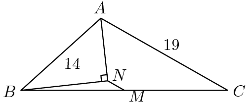 "[asy] size(150); defaultpen(linewidth(0.7)+fontsize(10)); pair B=origin, A=14*dir(42), C=intersectionpoint(B--(30,0), Circle(A,19)), M=midpoint(B--C), b=A+14*dir(A--C), N=foot(A, B, b); draw(N--B--A--N--M--C--A^^B--M); markscalefactor=0.1; draw(rightanglemark(B,N,A)); pair point=N; label(""$A$"", A, dir(point--A)); label(""$B$"", B, dir(point--B)); label(""$C$"", C, dir(point--C)); label(""$M$"", M, dir(point--M)); label(""$N$"", N, dir(30)); label(rotate(angle(dir(A--C)))*""$19$"", A--C, dir(A--C)*dir(90)); label(rotate(angle(dir(A--B)))*""$14$"", A--B, dir(A--B)*dir(90)); [/asy]"