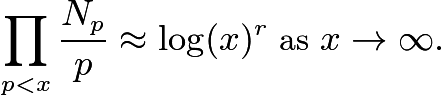 $\prod_{p<x} \frac{N_p}{p} \approx \log(x)^r \mbox{ as } x \rightarrow \infty.$