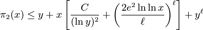$\pi_2(x)\le y+ x\left[\frac C{(\ln y)^2} +\left(\frac {2e^2\ln\ln x}{\ell}\right)^\ell\right]+y^\ell$