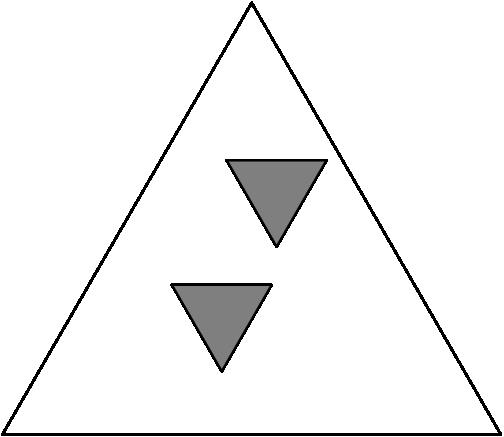 [asy] draw((0,0)--(1,0)--(1/2,sqrt(3)/2)--cycle,linewidth(0.5)); filldraw((0.45,0.55)--(0.65,0.55)--(0.55,0.55-sqrt(3)/2*0.2)--cycle,gray,linewidth(0.5)); filldraw((0.54,0.3)--(0.34,0.3)--(0.44,0.3-sqrt(3)/2*0.2)--cycle,gray,linewidth(0.5)); [/asy]