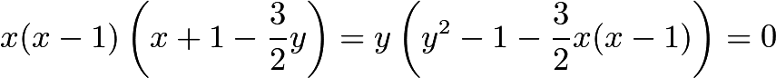 $x(x - 1)\left(x + 1 - \frac{3}{2}y\right) = y\left(y^2 - 1 - \frac{3}{2}x(x - 1)\right) = 0$