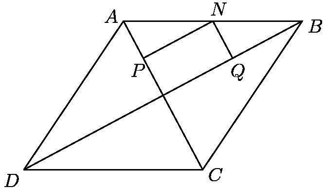 """[asy] size(200); defaultpen(0.6); pair O = (15*15/17,8*15/17), C = (17,0), D = (0,0), P = (25.6,19.2), Q = (25.6, 18.5); pair A = 2*O-C, B = 2*O-D; pair P = (A+O)/2, Q=(B+O)/2, N=(A+B)/2; draw(A--B--C--D--cycle); draw(A--O--B--O--C--O--D); draw(P--N--Q); label(""""\(A\)"""",A,WNW); label(""""\(B\)"""",B,ESE); label(""""\(C\)"""",C,ESE); label(""""\(D\)"""",D,SW); label(""""\(P\)"""",P,SSW); label(""""\(Q\)"""",Q,SSE); label(""""\(N\)"""",N,NNE); [/asy]"""