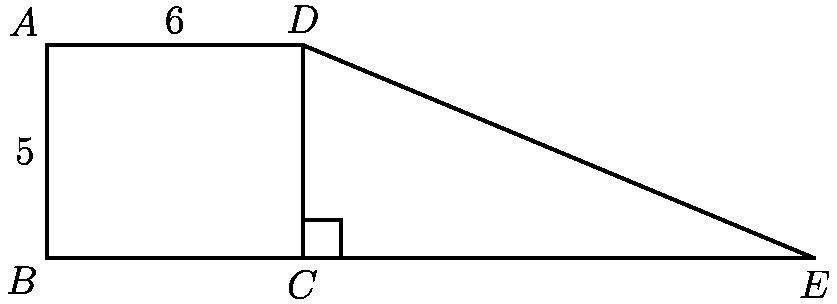 "[asy] size(250); defaultpen(linewidth(0.8)); pair A=(0,5),B=origin,C=(6,0),D=(6,5),E=(18,0); draw(A--B--E--D--cycle^^C--D); draw(rightanglemark(D,C,E,30)); label(""$A$"",A,NW); label(""$B$"",B,SW); label(""$C$"",C,S); label(""$D$"",D,N); label(""$E$"",E,S); label(""$5$"",A/2,W); label(""$6$"",(A+D)/2,N); [/asy]"