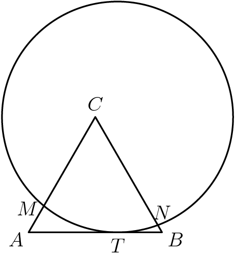 "[asy] pair A = (0,0), B = (1,0), C = dir(60), T = (2/3,0); pair M = intersectionpoint(A--C,Circle((2/3,sqrt(3)/2),sqrt(3)/2)), N = intersectionpoint(B--C,Circle((2/3,sqrt(3)/2),sqrt(3)/2));  draw((0,0)--(1,0)--dir(60)--cycle); draw(Circle((2/3,sqrt(3)/2),sqrt(3)/2)); label(""$A$"",A,dir(210)); label(""$B$"",B,dir(-30)); label(""$C$"",C,dir(90)); label(""$M$"",M,dir(190)); label(""$N$"",N,dir(75)); label(""$T$"",T,dir(-90));  [/asy]"