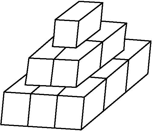 [asy] draw((0,0)--(2.35,-.15)--(2.44,.81)--(.09,.96)--cycle); draw((.783333333,-.05)--(.873333333,.91)--(1.135,1.135)); draw((1.566666667,-.1)--(1.656666667,.86)--(1.89,1.1)); draw((2.35,-.15)--(4.3,1.5)--(4.39,2.46)--(2.44,.81)); draw((3,.4)--(3.09,1.36)--(2.61,1.4)); draw((3.65,.95)--(3.74,1.91)--(3.29,1.94)); draw((.09,.96)--(.76,1.49)--(.71,1.17)--(2.2,1.1)--(3.6,2.2)--(3.62,2.52)--(4.39,2.46)); draw((.76,1.49)--(.82,1.96)--(2.28,1.89)--(2.2,1.1)); draw((2.28,1.89)--(3.68,2.99)--(3.62,2.52)); draw((1.455,1.135)--(1.55,1.925)--(1.89,2.26)); draw((2.5,2.48)--(2.98,2.44)--(2.9,1.65)); draw((.82,1.96)--(1.55,2.6)--(1.51,2.3)--(2.2,2.26)--(2.9,2.8)--(2.93,3.05)--(3.68,2.99)); draw((1.55,2.6)--(1.59,3.09)--(2.28,3.05)--(2.2,2.26)); draw((2.28,3.05)--(2.98,3.59)--(2.93,3.05)); draw((1.59,3.09)--(2.29,3.63)--(2.98,3.59)); [/asy]