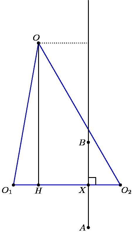 "[asy] unitsize(3cm); pointpen=black; pointfontpen=fontsize(9); pair A=dir(110), B=dir(230), C=dir(310); DPA(A--B--C--A); pair H = foot(A, B, C); draw(A--H); pair X = 0.3*B + 0.7*C; pair Y = A+X-H; draw(X--1.3*Y-0.3*X); draw(A--Y, dotted); pair R1 = 1.3*X-0.3*Y; pair R2 = 0.7*X+0.3*Y; draw(R1--X); D(""O"",A,dir(A)); D(""O_1"",B,dir(B)); D(""O_2"",C,dir(C)); D(""H"",H,dir(270)); D(""X"",X,dir(225)); D(""A"",R1,dir(180)); D(""B"",R2,dir(180)); draw(rightanglemark(Y,X,C,3)); [/asy]"
