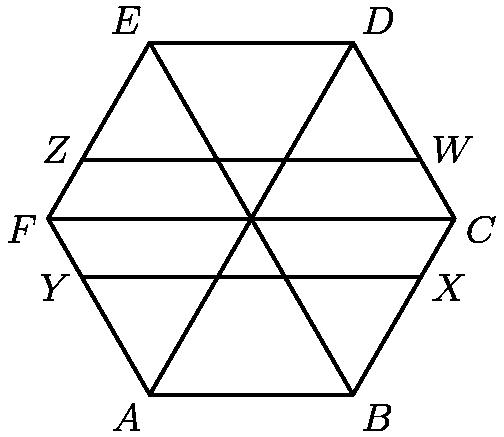 [asy] pair A,B,C,D,E,F,W,X,Y,Z; A=(0,0); B=(1,0); C=(3/2,sqrt(3)/2); D=(1,sqrt(3)); E=(0,sqrt(3)); F=(-1/2,sqrt(3)/2); W=(4/3,2sqrt(3)/3); X=(4/3,sqrt(3)/3); Y=(-1/3,sqrt(3)/3); Z=(-1/3,2sqrt(3)/3); draw(A--B--C--D--E--F--cycle); draw(W--Z); draw(X--Y); draw(F--C--B--E--D--A);  label(