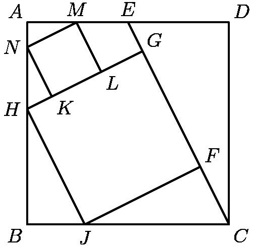 """[asy] pair A,B,C,D,E,F,G,H,J,K,L,M,N; B=(0,0); real m=7*sqrt(55)/5; J=(m,0); C=(7*m/2,0); A=(0,7*m/2); D=(7*m/2,7*m/2); E=(A+D)/2; H=(0,2m); N=(0,2m+3*sqrt(55)/2); G=foot(H,E,C); F=foot(J,E,C); draw(A--B--C--D--cycle); draw(C--E); draw(G--H--J--F); pair X=foot(N,E,C); M=extension(N,X,A,D); K=foot(N,H,G); L=foot(M,H,G); draw(K--N--M--L); label(""""$A$"""",A,NW); label(""""$B$"""",B,SW); label(""""$C$"""",C,SE); label(""""$D$"""",D,NE); label(""""$E$"""",E,dir(90)); label(""""$F$"""",F,NE); label(""""$G$"""",G,NE); label(""""$H$"""",H,W); label(""""$J$"""",J,S); label(""""$K$"""",K,SE); label(""""$L$"""",L,SE); label(""""$M$"""",M,dir(90)); label(""""$N$"""",N,dir(180)); [/asy]"""