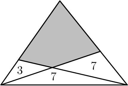 "[asy] unitsize(1.5cm); defaultpen(.8);  pair A = (0,0), B = (3,0), C = (1.4, 2), D = B + 0.4*(C-B), Ep = A + 0.3*(C-A); pair F = intersectionpoint( A--D, B--Ep );  draw( A -- B -- C -- cycle ); draw( A -- D ); draw( B -- Ep ); filldraw( D -- F -- Ep -- C -- cycle, mediumgray, black );  label(""$7$"",(1.25,0.2)); label(""$7$"",(2.2,0.45)); label(""$3$"",(0.45,0.35)); [/asy]"