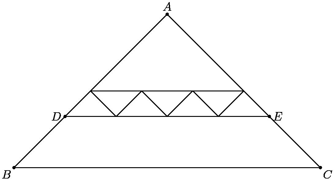 "[asy] μέγεθος μονάδας (5);  σημείο ((0,0));  σημείο ((60,0)).  dot ((50,10)).  dot ((10,10)).  σημείο ((30, 30)).  κλήρωση ((0,0) - (60,0) - (50,10) - (30,30) - (10,10) - (0,0));  κλήρωση ((10,10) - (50,10)),  ετικέτα (""$ B $"", (0,0), SW);  ετικέτα (""$ C $"", (60,0), SE).  ετικέτα (""$ E $"", (50,10), E).  ετικέτα (""$ D $"", (10,10), W).  ετικέτα (""$ A $"", (30,30), Ν).  (10,10) - (15,15) - (20,10) - (25,15) - (30,10) - (35,15) - (40,10) - - (45,15) - (50,10)).  κλήρωση ((15,15) - (45,15)).  [/ asy]"
