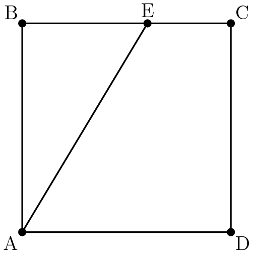 """[asy] pair A,B,C,D,E; A=(0,0); B=(0,50); C=(50,50); D=(50,0); E = (30,50); draw(A--B); draw(B--E); draw(E--C); draw(C--D); draw(D--A); draw(A--E); dot(A); dot(B); dot(C); dot(D); dot(E); label(""""A"""",A,SW); label(""""B"""",B,NW); label(""""C"""",C,NE); label(""""D"""",D,SE); label(""""E"""",E,N); [/asy]"""