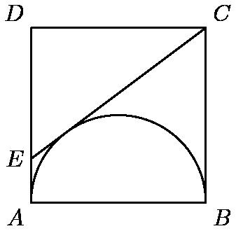 """[asy] size(100); defaultpen(fontsize(10)); pair A=(0,0), B=(2,0), C=(2,2), D=(0,2), E=(0,1/2); draw(A--B--C--D--cycle);draw(C--E); draw(Arc((1,0),1,0,180)); label(""""$A$"""",A,(-1,-1)); label(""""$B$"""",B,( 1,-1)); label(""""$C$"""",C,( 1, 1)); label(""""$D$"""",D,(-1, 1)); label(""""$E$"""",E,(-1, 0)); [/asy]"""