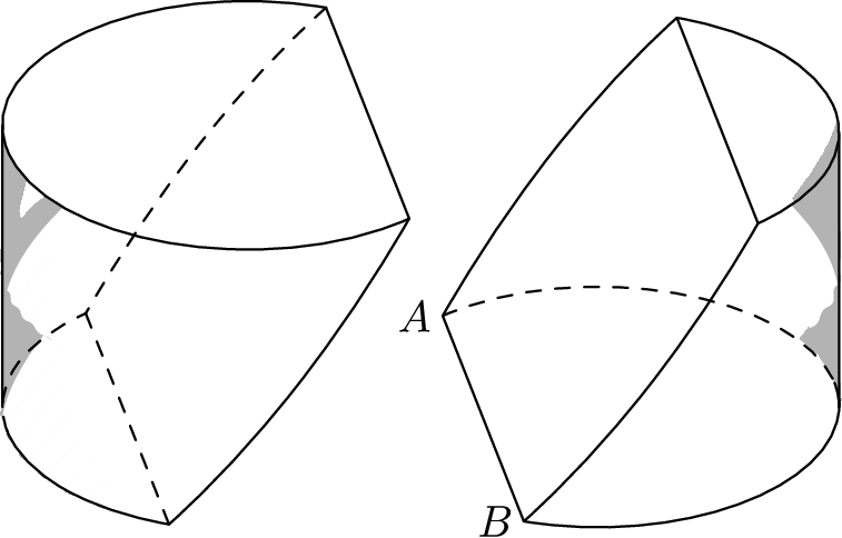 "[asy] import three; import solids; size(8cm); currentprojection=orthographic(-1,-5,3);  picture lpic, rpic;  size(lpic,5cm); draw(lpic,surface(revolution((0,0,0),(-3,3*sqrt(3),0)..(0,6,4)..(3,3*sqrt(3),8),Z,0,120)),gray(0.7),nolight); draw(lpic,surface(revolution((0,0,0),(-3*sqrt(3),-3,8)..(-6,0,4)..(-3*sqrt(3),3,0),Z,0,90)),gray(0.7),nolight); draw(lpic,surface((3,3*sqrt(3),8)..(-6,0,8)..(3,-3*sqrt(3),8)--cycle),gray(0.7),nolight); draw(lpic,(3,-3*sqrt(3),8)..(-6,0,8)..(3,3*sqrt(3),8)); draw(lpic,(-3,3*sqrt(3),0)--(-3,-3*sqrt(3),0),dashed); draw(lpic,(3,3*sqrt(3),8)..(0,6,4)..(-3,3*sqrt(3),0)--(-3,3*sqrt(3),0)..(-3*sqrt(3),3,0)..(-6,0,0),dashed); draw(lpic,(3,3*sqrt(3),8)--(3,-3*sqrt(3),8)..(0,-6,4)..(-3,-3*sqrt(3),0)--(-3,-3*sqrt(3),0)..(-3*sqrt(3),-3,0)..(-6,0,0)); draw(lpic,(6*cos(atan(-1/5)+3.14159),6*sin(atan(-1/5)+3.14159),0)--(6*cos(atan(-1/5)+3.14159),6*sin(atan(-1/5)+3.14159),8));  size(rpic,5cm); draw(rpic,surface(revolution((0,0,0),(3,3*sqrt(3),8)..(0,6,4)..(-3,3*sqrt(3),0),Z,230,360)),gray(0.7),nolight); draw(rpic,surface((-3,3*sqrt(3),0)..(6,0,0)..(-3,-3*sqrt(3),0)--cycle),gray(0.7),nolight); draw(rpic,surface((-3,3*sqrt(3),0)..(0,6,4)..(3,3*sqrt(3),8)--(3,3*sqrt(3),8)--(3,-3*sqrt(3),8)--(3,-3*sqrt(3),8)..(0,-6,4)..(-3,-3*sqrt(3),0)--cycle),white,nolight); draw(rpic,(-3,-3*sqrt(3),0)..(-6*cos(atan(-1/5)+3.14159),-6*sin(atan(-1/5)+3.14159),0)..(6,0,0)); draw(rpic,(-6*cos(atan(-1/5)+3.14159),-6*sin(atan(-1/5)+3.14159),0)..(6,0,0)..(-3,3*sqrt(3),0),dashed); draw(rpic,(3,3*sqrt(3),8)--(3,-3*sqrt(3),8)); draw(rpic,(-3,3*sqrt(3),0)..(0,6,4)..(3,3*sqrt(3),8)--(3,3*sqrt(3),8)..(3*sqrt(3),3,8)..(6,0,8)); draw(rpic,(-3,3*sqrt(3),0)--(-3,-3*sqrt(3),0)..(0,-6,4)..(3,-3*sqrt(3),8)--(3,-3*sqrt(3),8)..(3*sqrt(3),-3,8)..(6,0,8)); draw(rpic,(-6*cos(atan(-1/5)+3.14159),-6*sin(atan(-1/5)+3.14159),0)--(-6*cos(atan(-1/5)+3.14159),-6*sin(atan(-1/5)+3.14159),8)); label(rpic,""$A$"",(-3,3*sqrt(3),0),W); label(rpic,""$B$"",(-3,-3*sqrt(3),0),W);  add(lpic.fit(),(0,0)); add(rpic.fit(),(1,0)); [/asy]"