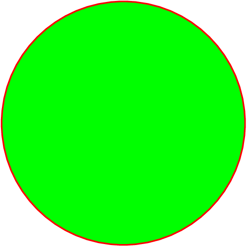 [asy] filldraw(circle((0,0),5),green,red+linewidth(1)); [/asy]