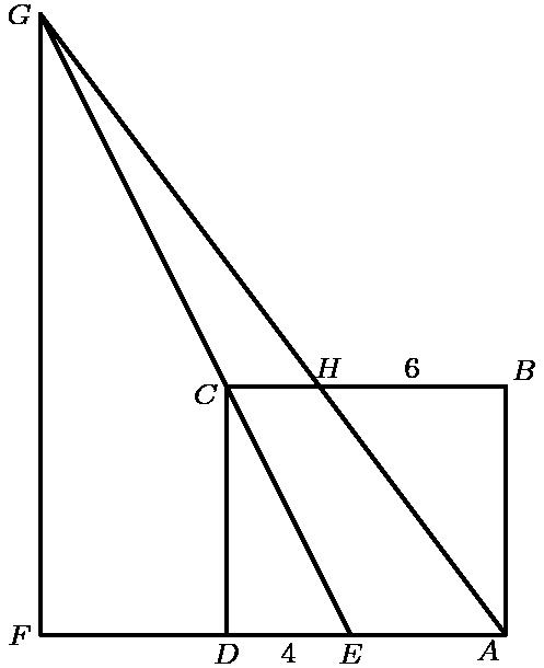 """[asy] unitsize(3mm); defaultpen(linewidth(.8pt)+fontsize(8pt)); pair D=(0,0), Ep=(4,0), A=(9,0), B=(9,8), H=(3,8), C=(0,8), G=(-6,20), F=(-6,0); draw(D--A--B--C--D--F--G--Ep); draw(A--G); label(""""$F$"""",F,W); label(""""$G$"""",G,W); label(""""$C$"""",C,WSW); label(""""$H$"""",H,NNE); label(""""$6$"""",(6,8),N); label(""""$B$"""",B,NE); label(""""$A$"""",A,SW); label(""""$E$"""",Ep,S); label(""""$4$"""",(2,0),S); label(""""$D$"""",D,S);[/asy]"""