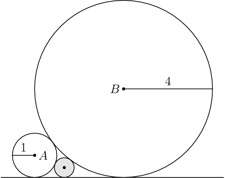 "[asy] unitsize(0.75cm); pair A=(0,1), B=(4,4); dot(A); dot(B); draw( circle(A,1) ); draw( circle(B,4) ); draw( (-1.5,0)--(8.5,0) ); draw( A -- (A+(-1,0)) ); label(""$1$"", A -- (A+(-1,0)), N ); draw( B -- (B+(4,0)) ); label(""$4$"", B -- (B+(4,0)), N ); label(""$A$"",A,E); label(""$B$"",B,W);  filldraw( circle( (12/9,4/9), 4/9 ), lightgray, black ); dot( (12/9,4/9) ); [/asy]"